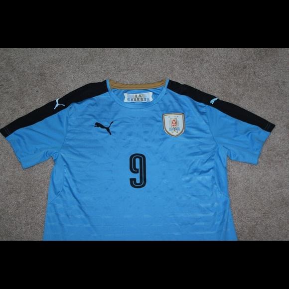 new product c9a78 1429d Uruguay soccer jersey Luis Suarez Puma